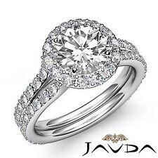 Shiny Round Diamond Engagement Halo Pre-Set Ring GIA F VS2 18k White Gold 2.8ct