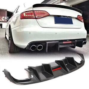 For Audi S4 Base Sedan 08-12 Carbon Fiber Rear Bumper Diffuser Lip W/Break Light