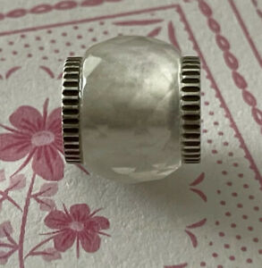 Brighton FACETED White Clear Silver ABC Bead Spacer