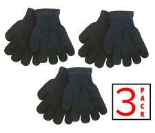 3 PACK Kids Gloves Stretchy Knit Mitten Winter Boys Girls Children Black AGE 3-9