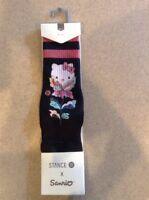 Stance Women Size Medium M 8-10.5 Black Socks Crew Hello Kitty Flower Friend