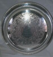 """Vintage Wm. ROGERS #172 15"""" Round SILVER Plate Serving TRAY Pierced Rope Edge"""