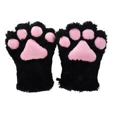 2 pieces Black Cat Foot Paw Plush Gloves + Cat Ears Hair Cs Hair Pins Party L2U4