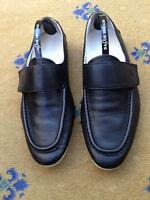 Gucci Men's Shoes Black Leather Loafers Boating Deck UK 5.5 6 US 6.5 7 39.5 40