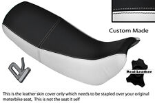 White & black custom fits honda nx 650 dominator 92-01 double housse siège en cuir
