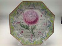"Moonlighting Interiors Decoupage Glass Plate Octagon Botanical Green 8-3/8"" C"