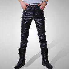 No Biker Moto Pantalones Cuero Cool Lápiz Negro Ajustado Surf Sintético