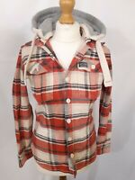 Superdry Shirt - Size M - Red / Blue Check - Hooded - Flannel - 100% Cotton