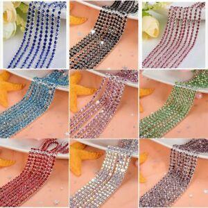 1 Yard Glass Rhinestone Chain Bottom Sew On Cup Crystal Chains DIY Garment Decor