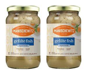 2 JARS MANISCHEWITZ GEFILTE FISH IN LIQUID BROTH 24 OZ EACH 7/23