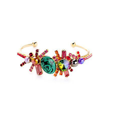 Bracelet Bangle Open Golden Malachite Green Crystal Red Pearl Purple Vintage CT