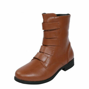 Womens Casual Round Toe Zip Ankle Boots Fashion Buckle Strap Flats Biker Shoes