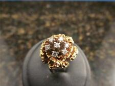 Vintage Retro Floral Natural Diamond 14k Solid Gold Ring Size 6
