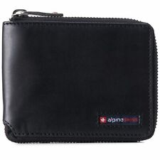 Alpine Swiss Unisex RFID Safe Zipper Wallet Genuine Leather Zip Around Bifold