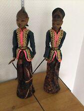 2 Original Indonesische Stab-Marionetten Holz Handarbeit 44cm tolle Verarbeitung