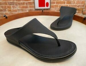 FitFlop Black Perforated Leather Banda Thong Comfort Sandal New