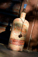 Bulleit Bourbon Tiki Torch Handmade Painted DIY Bottle Shabby Chic Upcycled