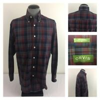 Orvis Wrinkle Free Mens M Long Sleeve Blue Red Plaid Cotton Flannel Shirt