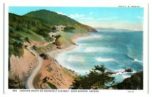 Looking South on Roosevelt Highway near Bandon, OR Postcard *6S(3)28
