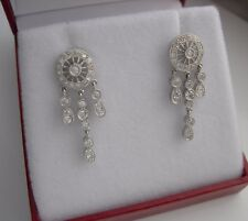 18K WHITE GOLD DIAMOND DANGLING EARRINGS 0.66 TCW