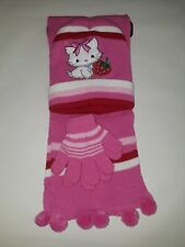 Snuggly Kittens Winter Pink Childrens 3Pc Hat Mittens Scarf Accessories Gift Set