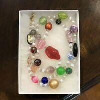 "Vintage Multicolor Art Glass Bead Necklace 30""  Foiled Murano Confetti Czech EUC"