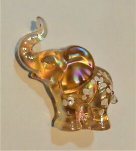 Fenton Carnival Elephant With Hand Painted Flowers Figurine - Signed J. Powell