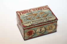 Vintage Three States Mixture Tobacco Tin Partial Paper Labels Rust