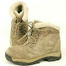 SOREL Waterfall Low Lace Tan Suede Winter Boots Snow Size 7.5