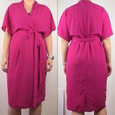 Asos Womens 10 Dress Pink Faux Wrap Short Sleeve Tie Belt  NWT