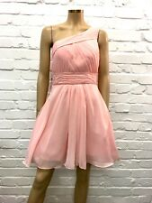 For The Exquisite & Elegant Baby Pink Chiffon Ruched Asymetric Gown UK 10/12