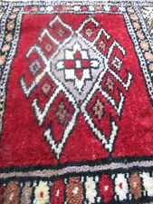 Miniature Persian Rug Wool Knotted Carpet Doll House Beige Red Tan Cream Vintage