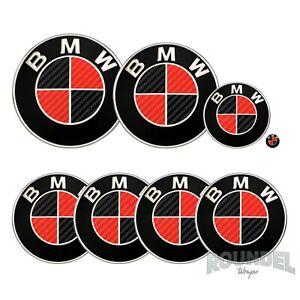 For BMW Badge Satin Carbon Fibre Black & Red All Models Decals Stickers Fiber
