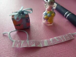 Easter  Candy Jars , wrapped page, banner Dollhouse Miniatures1:12