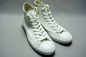 CONVERSE All Star Unisex Leather HIGH WHITE OUT PACK High Top White/Gold UK 7.5