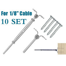 10 SET T316 Stainless Steel Tensioner Set Cable Railing w/Deck Toggle - 1/8""