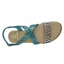 Size 11 (EU 43 /UK 9) Teal & Grey Crossover Laser Cut Flat Sandals Made in Spain