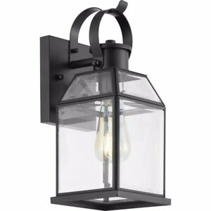 Progress Lighting Canton Heights 12-3/4 in. 1-Light Black Outdoor Wall Lantern