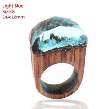 1pcs Handmade Wood Resin Ring With Magnificent Tiny Fantasy Secret Landscape 18mm Green