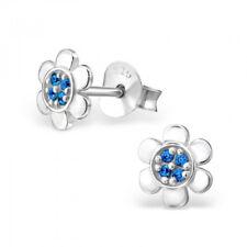 Royal Blue Daisy Sterling Silver Stud Earrings 6mm