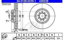 2x ATE Discos de Freno Traseros Ventilado 290mm 24.0128-0239.1
