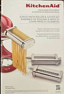 KitchenAid Stand Mixer Attachment 3 Piece Pasta Roller and Cutter Set -NEW-