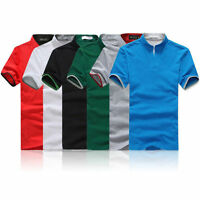 Men Slim Fit POLO Neck Shirts Cotton Short Sleeve Casual Mature T-shirt Tee Top.