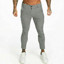 GINGTTO Designer Men Chino Skinny Fit Stretch Slim AnkleTrousers Houndstooth