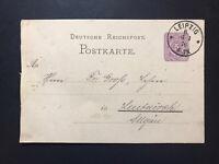 GandG Stamps Postal Card Germany 5pf Used 1876 Leipzig