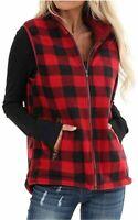 Oritina Womens Casual Lapel Open Front Plaid Vest Cardigan, Black, Size X-Large