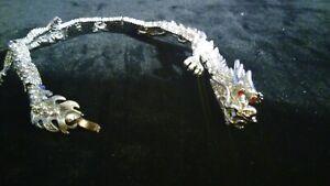 BRACELET DRAGON PAVED WITH ZIRCONIA STONES CUSTOM ROHADIUM PLATED 7 1/2 LONG