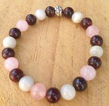 ॐCrystal Blissॐ Reiki Birthing Bracelet - Moonstone, Poppy Jasper & Rose Quartz