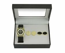 5x Time Design Men Gent Quartz Analoog Horloge Black Gold met manchetknopen