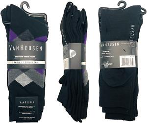 Van Heusen Dress Socks 3 Pairs + 1 Bonus Diamond Shoe Size 6-12.5 Black Purple